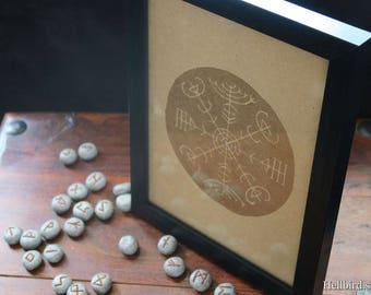 Handprinted Veldismagn (Icelandic runes, magical staves, Ásatrú, vikings)