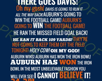 Auburn vs Alabama Radio Call State Outline - Blue Background