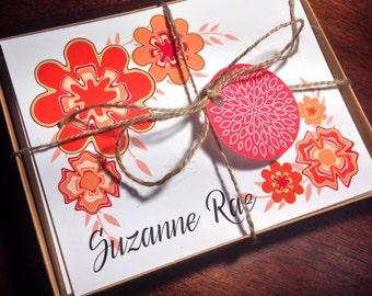 Personalized Notecards Girl flower teacher Gift set - GIGI