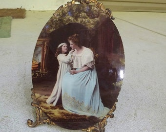 circa 1890 hand-colored photo plaque Victorian mother and child