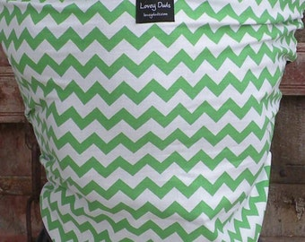 Baby Sling-ORGANIC COTTON Baby Wrap Sling Carrier-Green Chevron on Gray-One Size Fits All-Newborn to Toddler-DvD Included