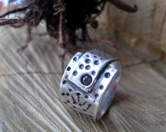 Handmade Sterling Silver Ring.  Unique Statement Silver Ring