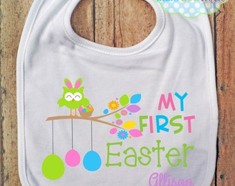 My First Easter Girl BIB - Baby - Bib and Burping - Personalized - Easter Eggs Owl
