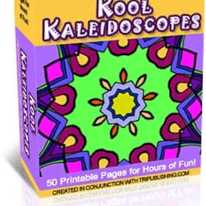 "Adult Coloring Book 50 Page - Printable Coloring Pages for Grownups– ""Kool Kaleidoscopes"" Mandala Designs - PDF Format Instant Download"
