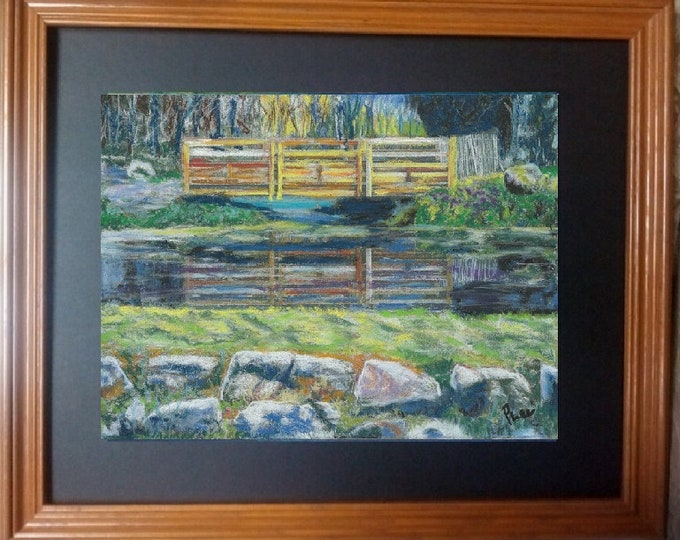 "8x10 Original Signed Pastel Painting, Landscape Artwork, ""Intriguing Reflections"""