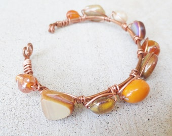 Copper Wire Wrapped Orange Neutral Beaded Cuff Bracelet By Distinctly Daisy