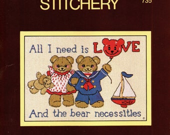Sunset CREWEL STITCHERY KIT Bear Necessities