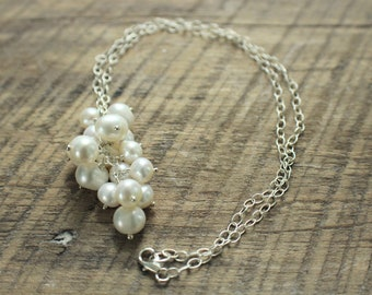 Hanging Pearl Necklace on Silver