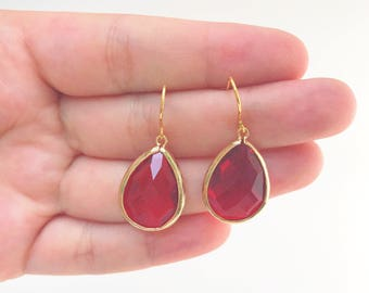 Ruby Gemstone Teardrop Earrings, July Birthstone Earrings Jewelry, Red Siam Gemstone Drop Earrings, Wedding Earrings, 12 COLOR OPTIONS