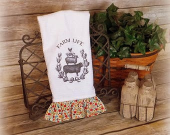 Tea Towel - Kitchen Towel - Hostess Gift - Quick Shipping - Birthday Gift - Wedding Gift - Country Towel - Housewarming Gift -Christmas Gift