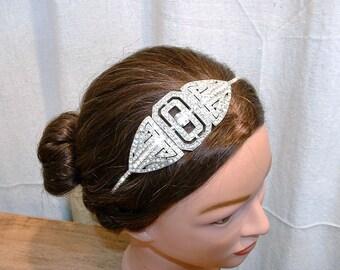 Vintage 1920s Art Deco Headpiece, Rhinestone Bridal Headband, Wedding Hairpiece, Beaded Flapper Head Band, Great Gatsby Downton Abbey Tiara
