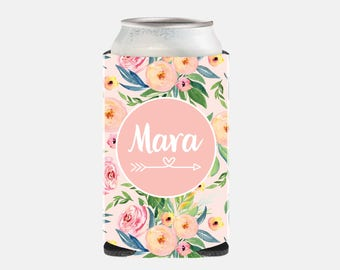 Pink Bridesmaid Gift Pink Wedding Favors Wedding Can Cooler Personalized Maid of Honor Gift Ideas Floral Bachelorette Party Gift Ideas WZ