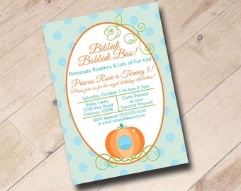 Princess Pumpkin Birthday Invitation - Fall Autumn Pumpkin Cinderella Disney Princess Theme
