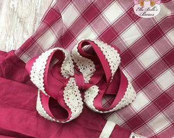 Old Town Picnic Double Boutique Bow~ double stack bow, double stacked bow, large boutique bow, m2m well dressed wolf old town picnic, wdw