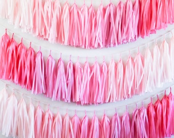 PINK OMBRE tassel garland party decoration // wedding decor // bridal shower