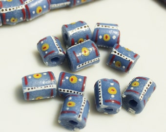 10 Handmade African Glass Beads, Blue Krobo Beads, Unique Jewelry Supplies (*AH76*)