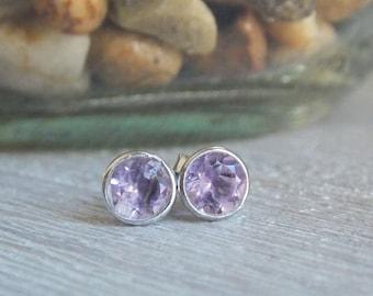 Amethyst Earrings, Amethyst Jewelry, Amethyst Stud Earrings, February Birthstone, Purple Earrings, Bridesmaid Earrings, Stamspink