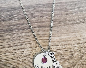 Guitar necklace / Hand stamped personalized necklace / Birth stone charm / Guitar student / Guitar player / music teacher gift / guitarist