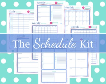 THE SCHEDULE KIT - daily, weekly, monthly, printable, calendar, planners, instant download, blue raspberry, 8.5 x 11, Full Size, 8 Pages