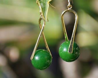 Green Nephrite Jade Semi-precious gemstone earrings Gold drop earrings Custom Gemstone earrings Gemstone jewelry Jade jewelry