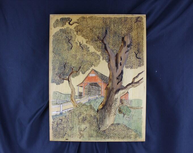 Folk Art K. Mazurak, Pyrography,-Wood Burning and Painting Wall Decor Covered Bridge