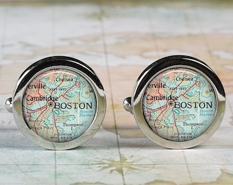 Boston cuff links, Boston map cufflinks wedding gift anniversary gift for groom gift for him groomsmen gift for best man Father's Day gift