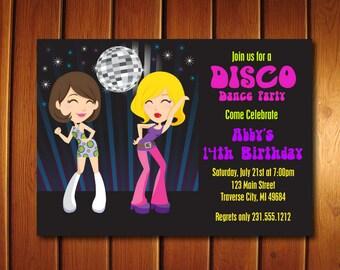 Dance Party Invitation - Kids 70s Disco Invitations - Printable Disco Ball Birthday Invitation