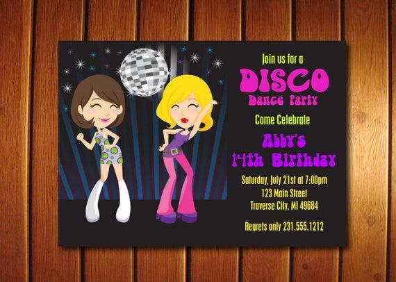 Dance Party Invitation Kids 70s Disco Invitations
