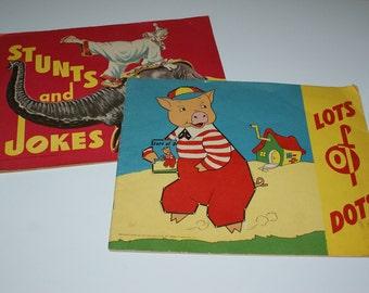 Vintage Coloring Books - Lots of Dots and Stunts and Jokes - 1950 Saalfield Pub
