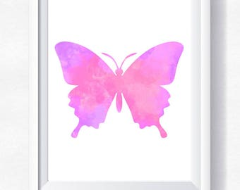 Butterfly print, pink butterfly printable, butterfly wall art, butterfly watercolor, nursery printable, instant download, butterfly poster