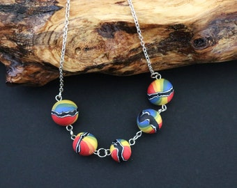 Rainbow Beaded necklace, Clay necklace, Beaded necklace, Rainbow necklace, Gift for girlfriend, Hippy necklace, Silver necklace, Wife gift