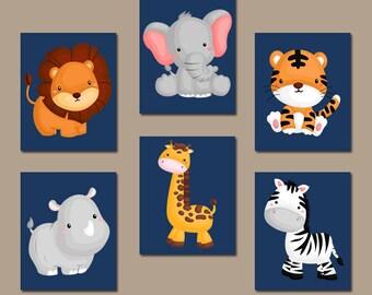 JUNGLE Animal Wall Art, Baby Boy Animal Nursery Decor, Safari Animals, Boy Bedroom, Canvas or Prints, Zoo Theme, Set of 6, Playroom Decor