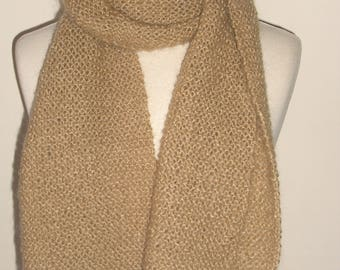 Scarf handknit (mohair) for man or for woman