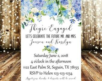 Blue, indigo, White, and Cream Floral Engagement Invitation