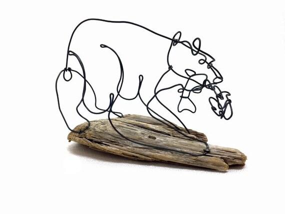 Bär mit Fisch Draht Skulptur die Kunst der Bär Bär Draht