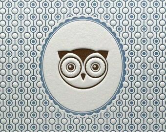 Letterpress Woodland Nursery Art Print Owl Portrait 5 by 7 Blue & Brown
