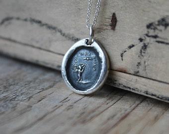 Hurry up-Cherub wax seal fine silver charm