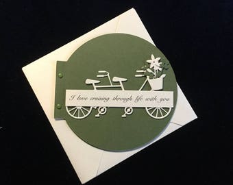 """Anniversary Card """"I Love Cruising Through Life With You"""" Bicycle Built for Two"""