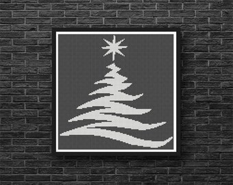 Silhoutte Christmas Tree Holiday Any Color Counted Cross Stitch Pattern - PDF Digital Download