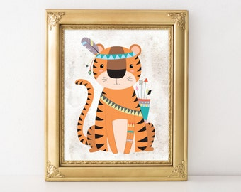 Nursery Printable Art, Tribal Nursery art, Tribal tiger printable  Nursery decor, baby jungle Animal print, Nursery art, jungle print