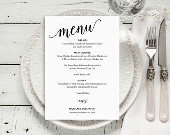 Wedding Menu Template, Wedding Menu Printable, Menu Card, DIY Menu Template, PDF Instant Download, Dinner Menu, Menu Printable, MM01-1