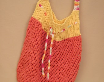 Hand Knit Shopping Bag / Market Bag / Beach Tote