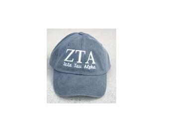 Zeta Tau Alpha with script baseball cap