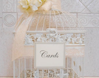 Ivory Wedding Birdcage Card Holder | Wedding Card Box | Wedding Card Holder | Wedding Birdcage