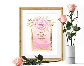 Watercolor Chanel No 5 Fashion Print, Perfume Poster Gift for Her