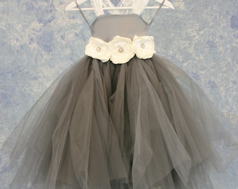 Poofy Grey and White Flower Girl Child Dress SAMPLE SALE!
