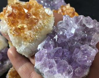 Citrine Cluster - Amethyst Cluster - Amethyst Citrine Druzy - Crystal Cluster - Amethyst Citrine Specimen - Crystal Collection Set