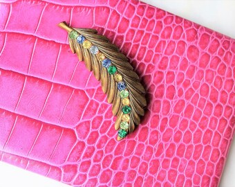Vintage Feather Rhinestone Brooch 1940s 40s 1950s 50s Art Deco Gold