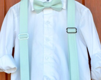 Easter Mint bowtie suspender set, Easter mint bow tie set, Child Easter outfit, little boy bow tie mint, little boy braces mint green, tie