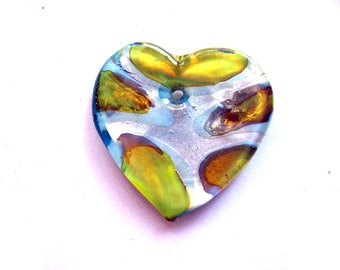 Yellow Aqua Blue Silver Foil Lampwork Glass Heart Pendant Bead
